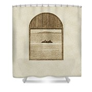 Window View Of Desert Island Puerto Rico Prints Vintage Shower Curtain