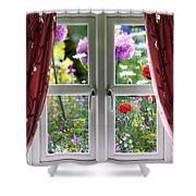 Window View Onto Wild Summer Garden Shower Curtain