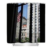 Window View With Flag Shower Curtain