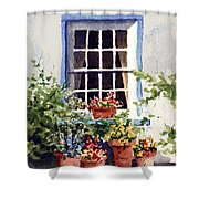 Window With Blue Trim Shower Curtain