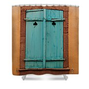 Window With Turqouise Shutters In Colmar France Shower Curtain