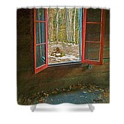 Window With View Abandoned Elkmont Log Cabin Autumn Shower Curtain