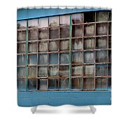 Windows In Blue Building 3 Shower Curtain