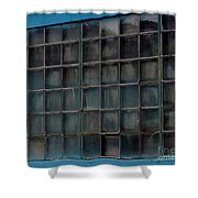 Windows In Blue Building Shower Curtain