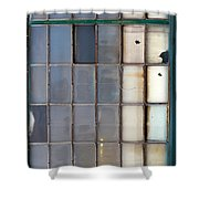 Windows In Blue Building Vertical Shower Curtain