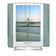 Windsurfing Art Poster - California Collection Shower Curtain