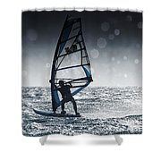 Windsurfing With Water Drops On Camera Shower Curtain