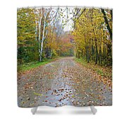 Windy And Rainy Fall Day Shower Curtain