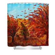 Windy Autumn Day Shower Curtain