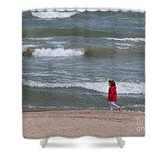 Windy Beach Walk Shower Curtain