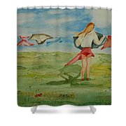 Windy Day Funny Watercolor Shower Curtain