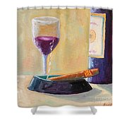 Wine And Cigar Shower Curtain