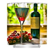 Wine And Grapes In The Window Shower Curtain