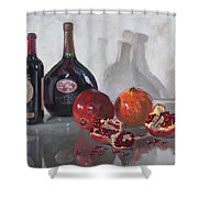 Wine And Pomegranates Shower Curtain