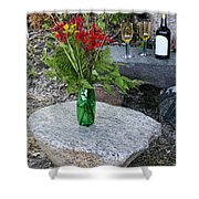 Wine And Red Flowers On The Rocks Shower Curtain