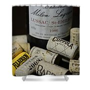 Wine And Wine Corks Shower Curtain by Paul Ward