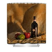 Wine Apples And Cheese Shower Curtain