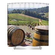 Wine Barrels In Vineyard Shower Curtain