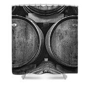Wine Barrels Monochrome Shower Curtain
