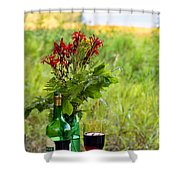 Wine Bottle And Two Glasses Shower Curtain