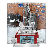 Wine Bottle Ice Sculpture Shower Curtain