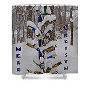 Wine Bottle Sculpture Christmas Card Shower Curtain