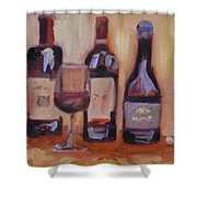 Wine Bottle Trio Shower Curtain