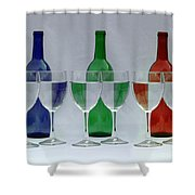 Wine Bottles And Glasses Illusion Shower Curtain