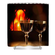 Wine By The Fire Shower Curtain