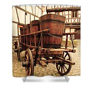 Wine Cart In Alsace France Shower Curtain
