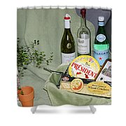Wine Cheese And Crackers Shower Curtain