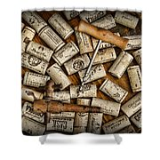 Wine Corks On A Wooden Barrel Shower Curtain