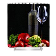 Wine For A Salad Shower Curtain by Elaine Plesser