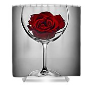 Wine Glass With Rose Shower Curtain