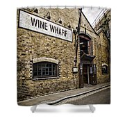 Wine Wharf Shower Curtain by Heather Applegate