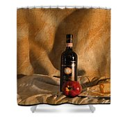 Wine With An Apple And Cheese Shower Curtain