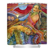 Wine Woman And Song Shower Curtain by Jen Norton