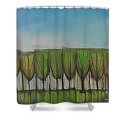 Wineglass Treeline Shower Curtain