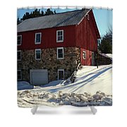Winery Barn In Winter Shower Curtain by Desiree Paquette