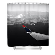 Wing Tip View Over Long Beach Ca Sc Shower Curtain