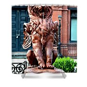 Winged Lion Fountain Shower Curtain
