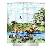 Imagining The Hunny  After E  H Shepard Shower Curtain