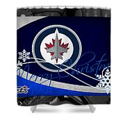 Winnipeg Jets Christmas Shower Curtain