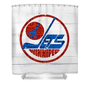 Winnipeg Jets Retro Hockey Team Logo Recycled Manitoba Canada License Plate Art Shower Curtain
