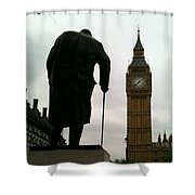 Winston Churchill Facing Big Ben Shower Curtain