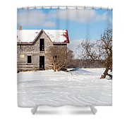 Winter Abandoned Farmouse Shower Curtain