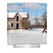 Winter Abandoned Farmouse Shower Curtain