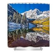 winter and Fall foliage at Maroon Bells Shower Curtain
