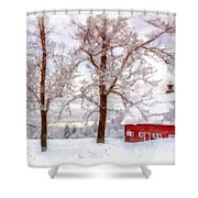 Winter Arrives Watercolor Shower Curtain