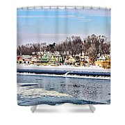 Winter At Boathouse Row In Philadelphia Shower Curtain by Simon Wolter